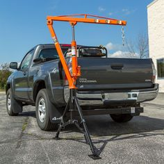 Apex receiver hitch crane installed to pickup truck