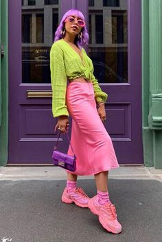 Neon Outfits, Purple Outfits, Colourful Outfits, Colorful Fashion, Casual Outfits, Cute Outfits, Fashion Outfits, Womens Fashion, Estilo Fashion