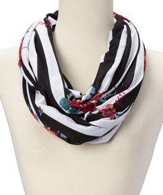 Betsey Johnson White Stripe & Rose Infinity Scarf | zulily