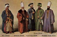 Soldan sağa doğru sırası ile Baş Çuhadar,Defterdar Efendi, Defteremini Efendi,Nişancı Efendi,Darphane Emini Efendi.