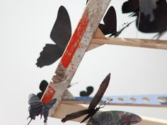 """These magical flights of butterflies are made out of crushed beer cans from the streets of New York. Each one is recycled, or as the artist says """"once raised to someone's lips"""""""