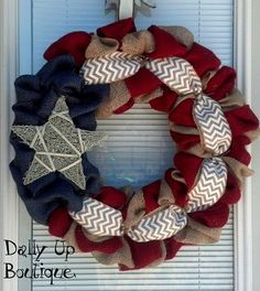 4th of July Wreath-Fourth of July Wreath- Red White and Blue Burlap Wreath-Summer Wreath- Patriotic burlap wreath- on Etsy, $39.00