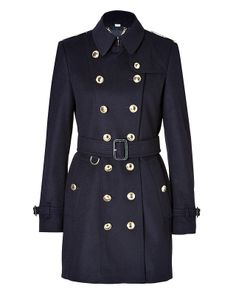 Burberry - Blue Wool Cashmere Queens Crown Trench Coat in Navy