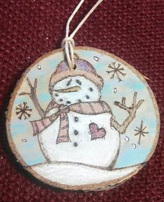 Snowman Woodburned Ornament