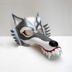 Máscara Antifaz Lobo Feroz Animales Gris Plateado De Cuero - $ 150 ...