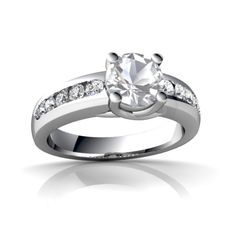 White Topaz Engagement 14K White Gold Ring R1977 - front view