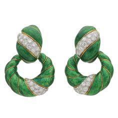 David Webb Green Enamel Diamond Gold Door Knocker Earrings | From a unique collection of vintage drop earrings at https://www.1stdibs.com/jewelry/earrings/drop-earrings/