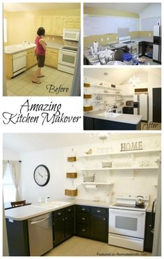 Amazing Kitchen Makeover on a budget #shelves #kitchen #open