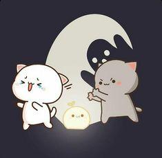 Cute Bunny Cartoon, Cute Cartoon Pictures, Cute Anime Pics, Cute Bear Drawings, Kawaii Drawings, Art Deco Paintings, Chibi Cat, Visiting Card Design, Cute Love Gif