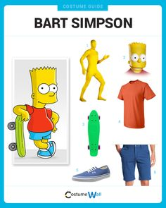 Get a costume to dress like the mischievous, skateboard riding middle-child, Bart Simpson who stars on the FOX TV show The Simpsons.