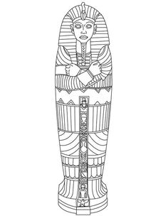 King Tut Gold Sarcophagus of Ancient Egypt Coloring Page