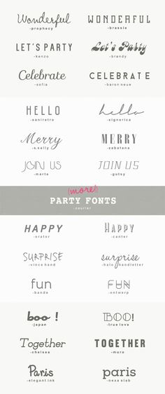 25 more great fonts for parties - A Subtle Revelry
