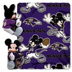 "Baltimore Ravens Mickey Mouse Uniform Hugger & 40"" x 50"" Plush Blanket"