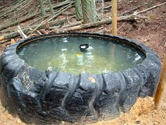 Using used tractor tires for waters and feeders