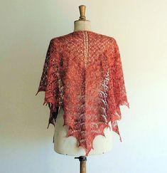 Aurantium Blossom Shawl ~ Blood Orange pattern no longer available? Shrug Knitting Pattern, Knitting Patterns, Orange Pattern, Blood Orange, Shawl, Kimono Top, Tops, Women, Fashion