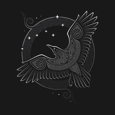 """Celtic Knot T-Shirt by Raidho. """"Northern Raven"""" is a beautiful Celtic knot design depicting a raven and the stars. Norse Tattoo, Celtic Tattoos, Viking Tattoos, Celtic Raven Tattoo, Warrior Tattoos, Armor Tattoo, Norse Mythology Tattoo, Celtic Symbols, Celtic Art"""