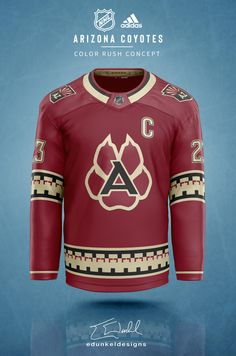 Hockey fans will love these NHL colour rush jersey concepts - Article - Bardown Hockey Sweater, Hockey Shirts, Nhl Jerseys, Nhl Red Wings, Houston Aeros, Arizona Coyotes, Color Rush, Daily Home Workout, National Hockey League