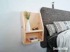 DIY Floating Nightstand Tutorial - Bob Vila Narrow Nightstand, Shelf Nightstand, Floating Nightstand, Small Wood Projects, Scrap Wood Projects, Diy House Projects, Woodworking Projects, Bedroom Layouts, Bedroom Ideas
