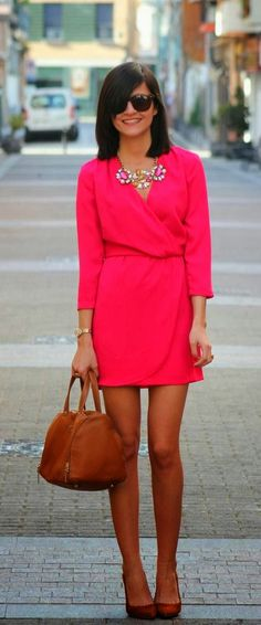 Stylish Necklace And Pink Wrap Mini Dress Fashion. Needs to have a little more length for work but the outfit is super cute.