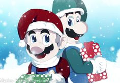 Made with Paint Tool Sai and Photoshop Art created/owned by Me Mario and Luigi is owned by Nintendo Merry Christmas/Happy Holidays 2017 Super Mario Rpg, Super Mario World, Metroid, Pokemon, Merry Christmas Happy Holidays, Super Mario Brothers, Mario And Luigi, Nintendo, Zelda