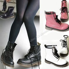 New Women's Lace Up Mid Calf Boots Combat  Punk Ankle Boots Flats Fashion shoes #chenmin609 #MidCalfBoots