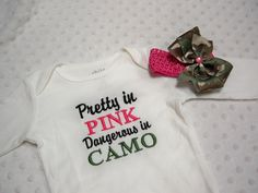 Pink Camo Baby Girl Pretty in Pink by on Etsy Pink Camo Baby, Baby Boy Camo, Camo Baby Stuff, Auntie, Pretty In Pink, Onesie, Clever, Girl Outfits, Cricut