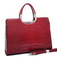Classic Matte Croco Briefcase w/ Bonus Shoulder Strap