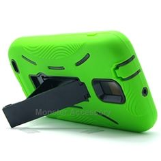 Click Image to Browse: $9.95 Green Kickstand Double Layered Hard Case Gel Cover For Samsung Galaxy S2 (Hercules T989) T-Mobile