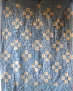 Vintage nine patch blocks denim quilt