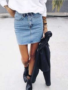 Summer boots. White shirt. Jean skirt.