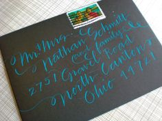 love the turquoise ink on a black background.  by Primele Calligraphy