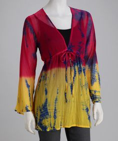 Take a look at this Yellow & Fuchsia Tie-Dye Tie Tunic by BHAGS BOHO on #zulily today!