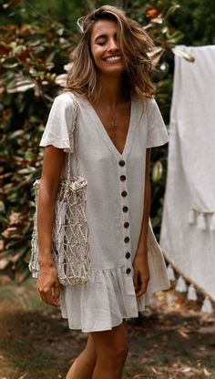 SingleBreasted Deep VNeck Cotton And Linen Dress is part of Summer outfits - Daily Life Style Casual Gender Women Product no 20190225 Please Note All dimensions are measured manually with a deviation of 1 to Cute Dresses, Casual Dresses, Summer Dresses, Maxi Dresses, Woman Dresses, Casual Outfits, Holiday Dresses, Linen Dresses, Elegant Dresses