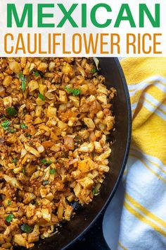 This Mexican cauliflower rice is a staple in our house! Seasoned like the rice from our favorite Mexican joint, but much healthier and low carb! Low Carb Side Dishes, Side Dish Recipes, Lunch Recipes, Mexican Food Recipes, Keto Recipes, Dinner Recipes, Healthy Recipes, Ethnic Recipes, Healthy Foods