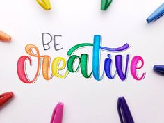 """⠀⠀⠀⠀⠀⠀⠀⠀ """"To be creative is to let little pieces of your heart go and places them into each project you make """" 🌈✨ Handmade lettering, home decor, typography, beautiful colors Calligraphy Worksheet, How To Write Calligraphy, Calligraphy Quotes, Calligraphy Letters, Brush Lettering Quotes, Hand Lettering Alphabet, Watercolor Lettering, Rainbow Quote, Bullet Journal Lettering Ideas"""