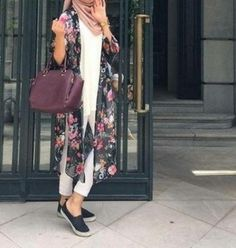 long floral chiffon cardigan hijab look- Colorful fashionable hijab outfits…