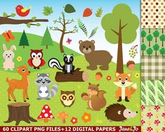 60 Woodland clipart, Woodland clip art,Woodland animals, fox clipart,rabbit clipart,squirrel clipart,acorn clipart,skunk clipart,bear clipart,deer clipart,owl clipart Woodland images,woodland art  * * * * * * * * * * * * * * * * * * * * * * BUY 2, GET 1 FREE! Purchase any 2 items and get a 3rd item of equal or lesser value free! Add all three items to your cart and use coupon code BUYME to redeem your offer. Please make sure that the discount has been applied before you proceed with your…