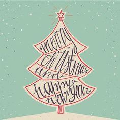 Printable Christmas Cards - Vintage Tree Word Art Free Printable Christmas Cards, Vintage Christmas Cards, Printable Cards, Free Printables, Christmas Words, Christmas Messages, Christmas Time, Merry Christmas, Typographic Poster