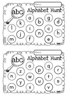 Playing games is the best way to learn - Alphabet Hunt FREEBIE Kindergarten Language Arts, Kindergarten Centers, Preschool Letters, Kindergarten Literacy, Preschool Learning, Teaching Activities, Teaching Resources, Teaching The Alphabet, Teaching Reading