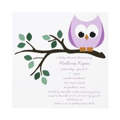 Shop Purple Owl Baby Shower Invitations created by Simply_Chic. Personalize it with photos & text or purchase as is! Owl Invitations, Baby Shower Invitations, Invites, Baby Shower Supplies, Baby Shower Themes, Shower Ideas, Purple Owl, Purple Baby, Baby Owls