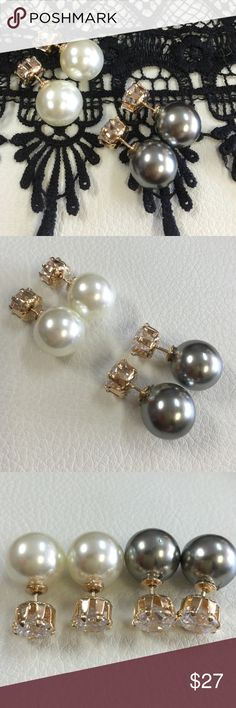 🆕 Duel Post Statement Pearls Fun double sided hypoallergenic earrings with cultured fresh water pearl and faceted Crystal in 18k gold overlay setting imported from Brazil. Earrings used to spice up a fun sweater or a plain ole t-shirt. Dime size, Crystal is a bit smaller OJDC Jewelry