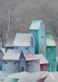 Stone Painting, House Painting, Painting & Drawing, Painting Prints, Art Prints, Class Pictures, House Quilts, Country Paintings, Building Art