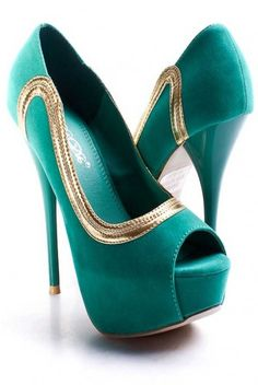 Gorgeous teal and gold platform peep toe pumps! Hot Shoes, Crazy Shoes, Me Too Shoes, Shoes Heels, Shoes Pic, Prom Heels, Green Heels, Gold Heels, Teal Heels