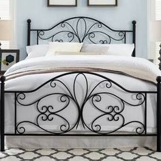Lark Manor April Open-Frame Headboard and Footboard Size: Queen Bedroom Furniture For Sale, Iron Furniture, Bedroom Sets, Home Bedroom, Steel Bed Design, Wrought Iron Beds, Adjustable Beds, Headboard And Footboard, Panel Bed