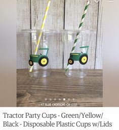 Tractor Birthday, Yellow Black, Blue, Party Cups, Tractors, Vacuums, Home Appliances, Green, Etsy
