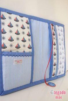 Capa de caderneta de vacinas, detalhe bolsos internos Caseado de mãe