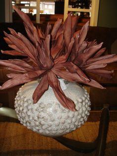 Dot detail ceramic vase and fun botanical  www.swansfurniture.com