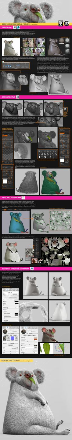 Process Tutorial on the creation of my 3D Koala image using ZBrush FiberMesh for fur and KeyShot for rendering.