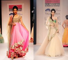"""Designer Anushree Reddy presented her collection, """"The Tale of a Bow,"""" at Lakmé Fashion Week Summer/Resort 2014. This has to be one of my favorite collection from the show ..Soft feminine pinks, mint greens and creams were sent down the runway in an assortment of lehngas, saris and anarkalis."""