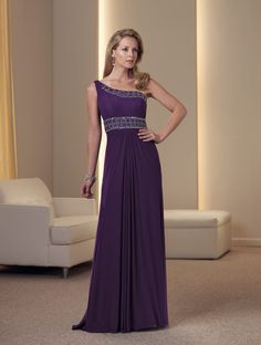 One-shoulder stretch illusion and jersey A-line dress with asymmetrical neckline, asymmetrically draped Empire bodice trimmed with elaborate hand-beading, softly draped skirt. Sizes: 4 – 20 Colors: Purple, Royal Blue, Peach, Black